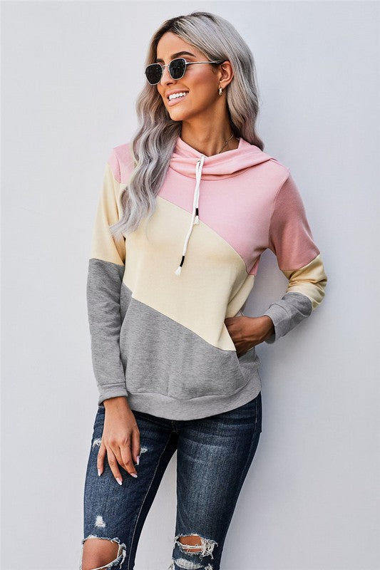 Colorblock Pocket Hoodie in Pink