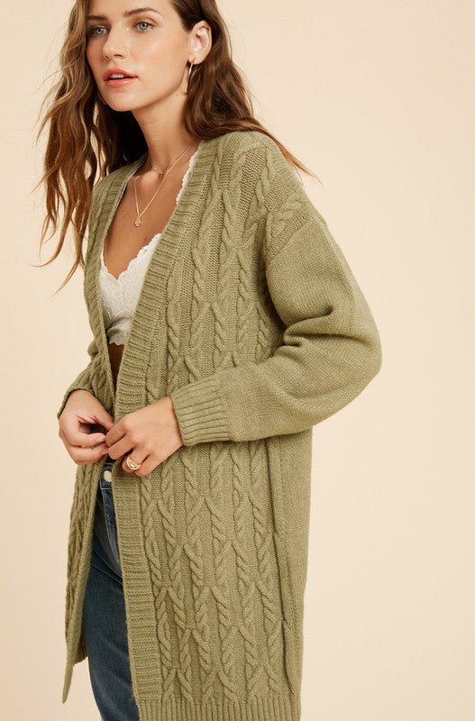 Cable Knit Cardigan in Light Olive