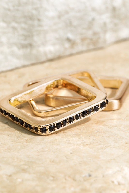 Set of Three Satin Metal With Pave Crystal Square Rings