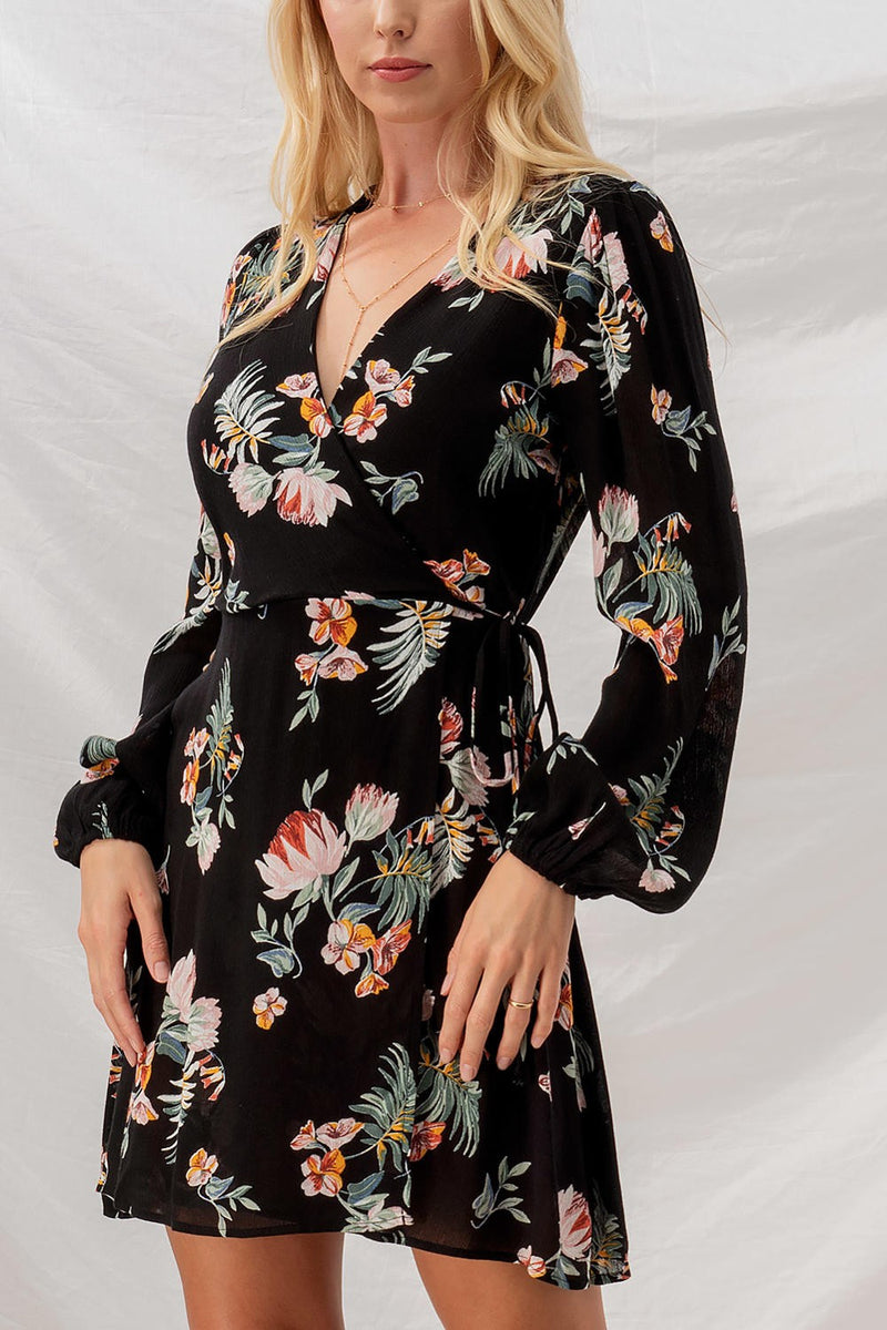 Floral Bishop Sleeve Surplice Dress