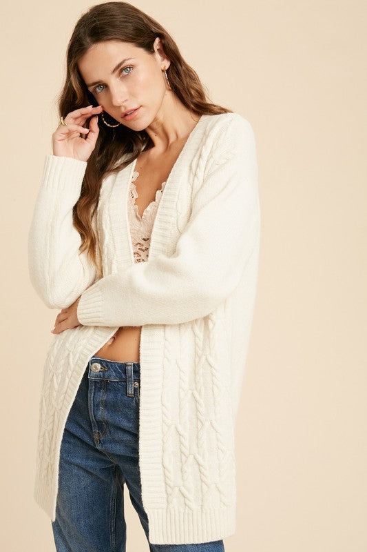 Cable Knit Cardigan in Cream