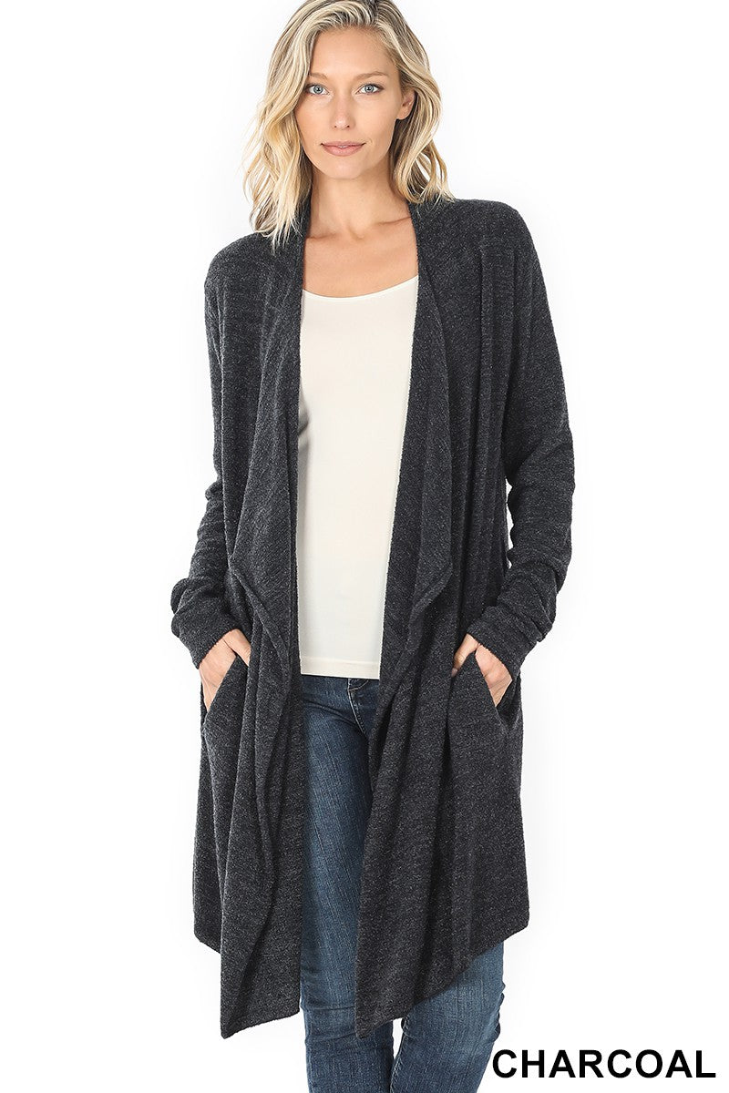 Slouchy Pocket Open Cardigan in Charcoal