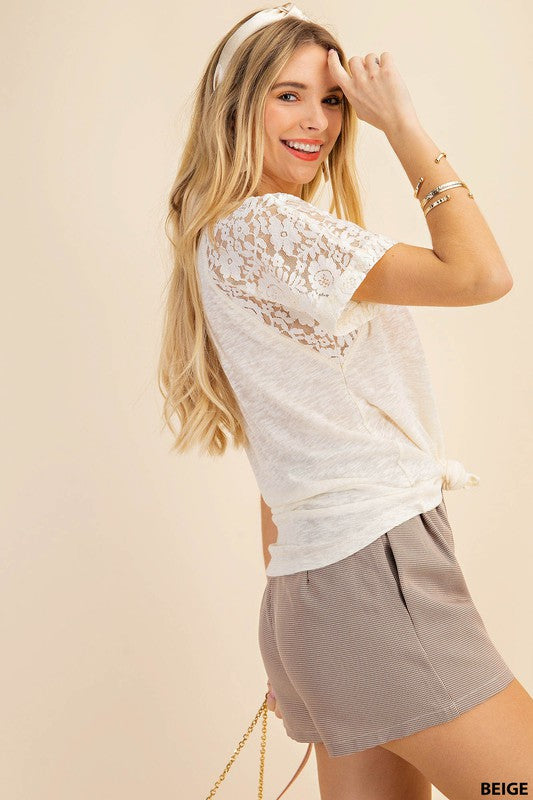 Ruth Lace Contrast Short Sleeve Top