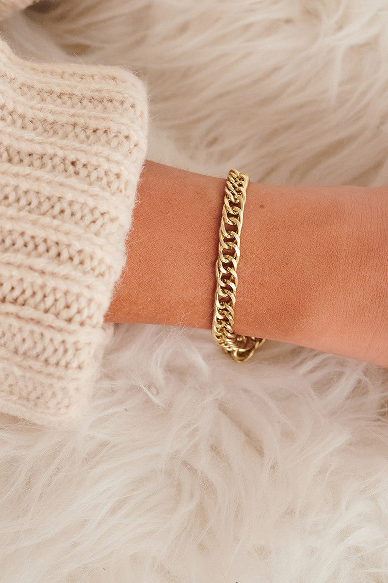 Antique Gold Herringbone Bracelet