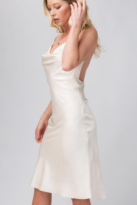 Satin Cowl Neck Dress With Open Back