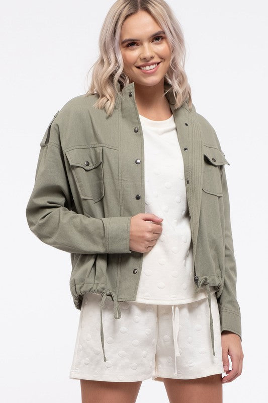 Light Zip Jacket in Light Olive
