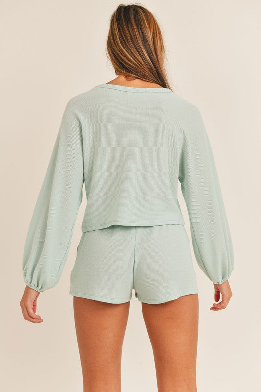 Cara Cropped Lounge Set in Mint
