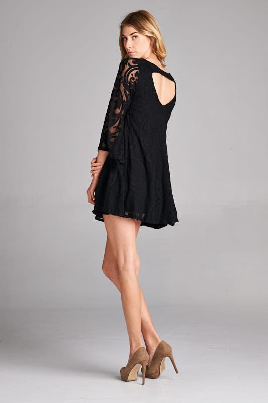 Lace Tunic Dress in Black