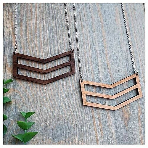Wooden Chevron Necklace