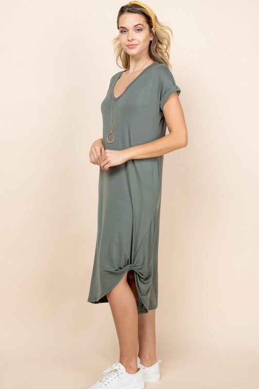 Side Twist V-Neck Solid Jersey Dress With Pockets in Olive
