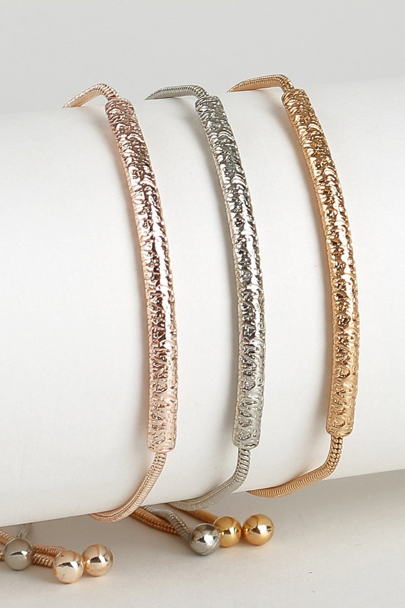 Curved Textured Metal Bar Adjustable Bracelet
