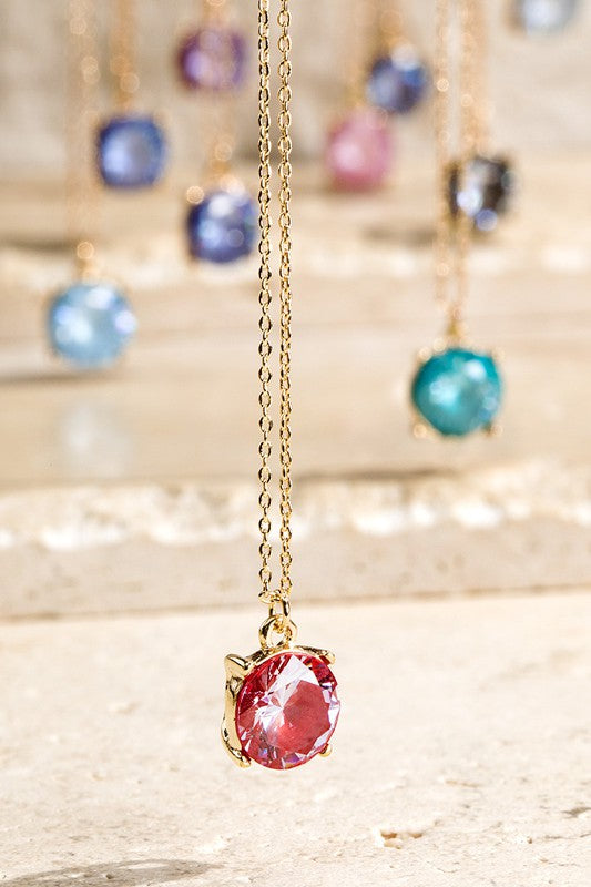 Crystal Pendant Necklace in Various Colors