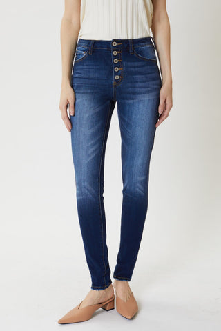 High Rise Fray Hem Skinny Jean