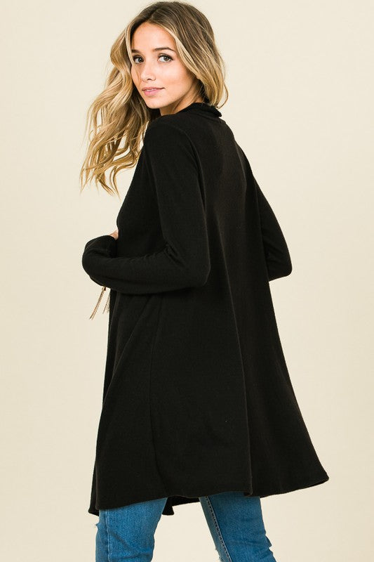 Lucy Solid Black Open Front Knit Cardigan