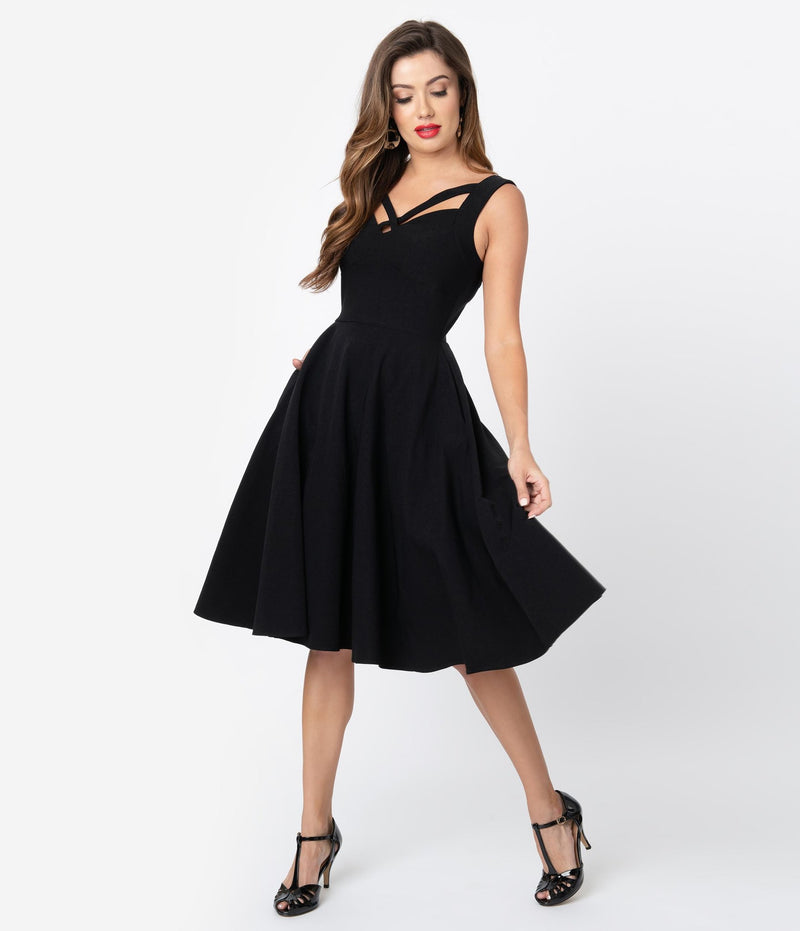 Flare Strap Neckline Dress With Pockets