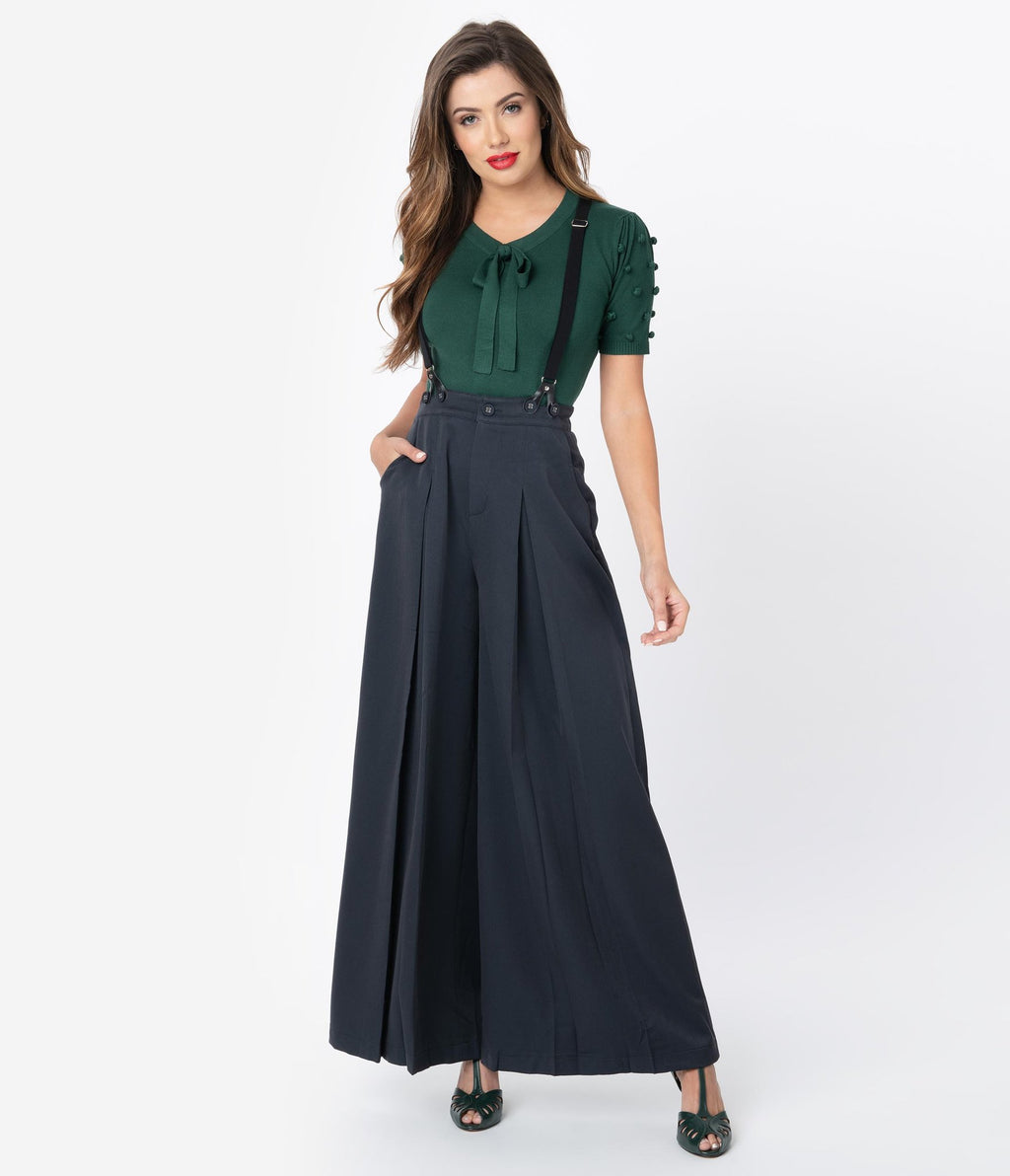 Wide Leg 40s Trouser With Removable Suspenders