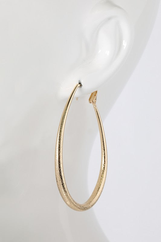 Textured Tear Drop Tube Hoop Earring in Gold or Silver