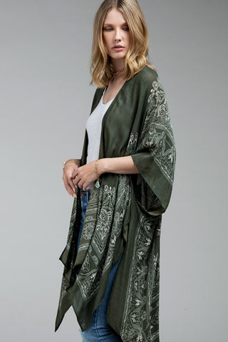 Embroidered Sleeve Kimono in Ivory