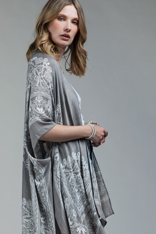 Ornate Mandala Kimono in Light Grey