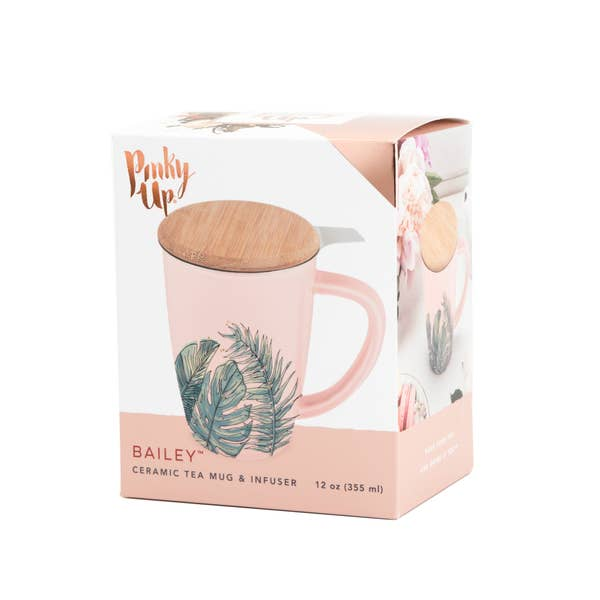 Tropical Ceramic Tea Mug & Infuser