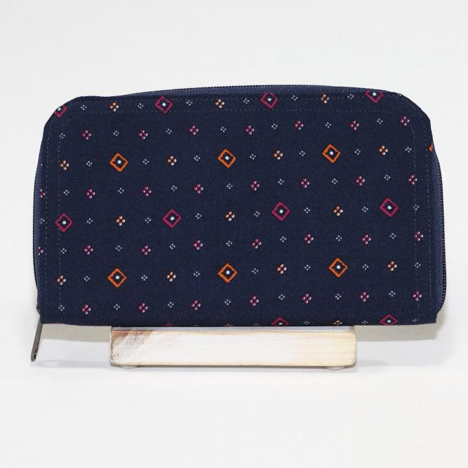 Zippered Wallet Made With Recycled Materials in Navy Diamonds