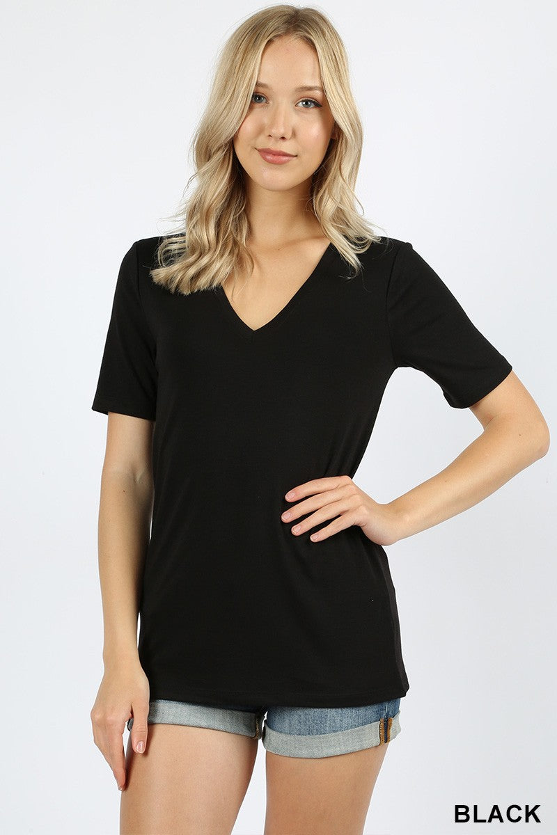 Basic Black V Neck T-shirt