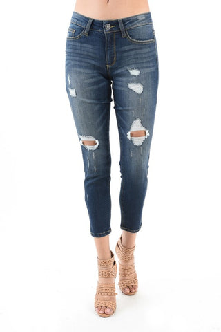 Mid Stitch Straight Crop Jeans With Leopard Scarf