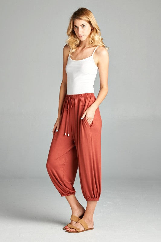 Jogger Jersey Pants in Marsala