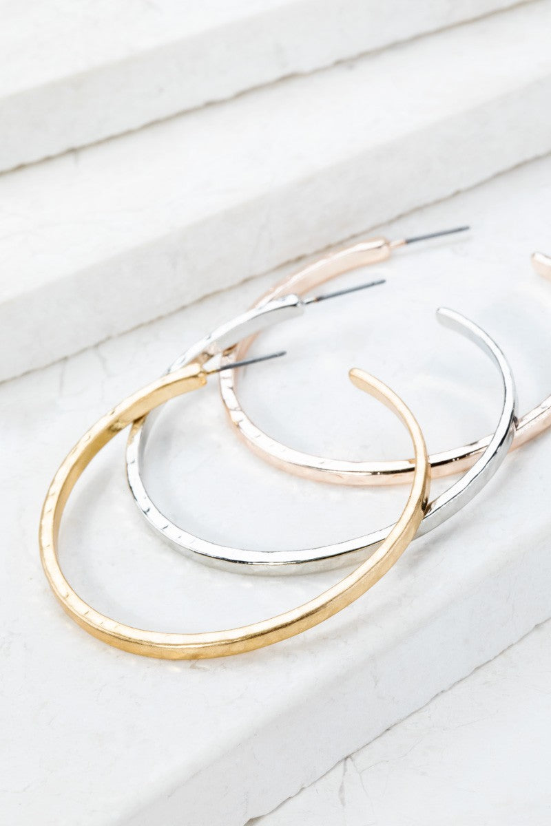 Hammered Metal Hoop Earrings in Gold, Silver or Matte Silver