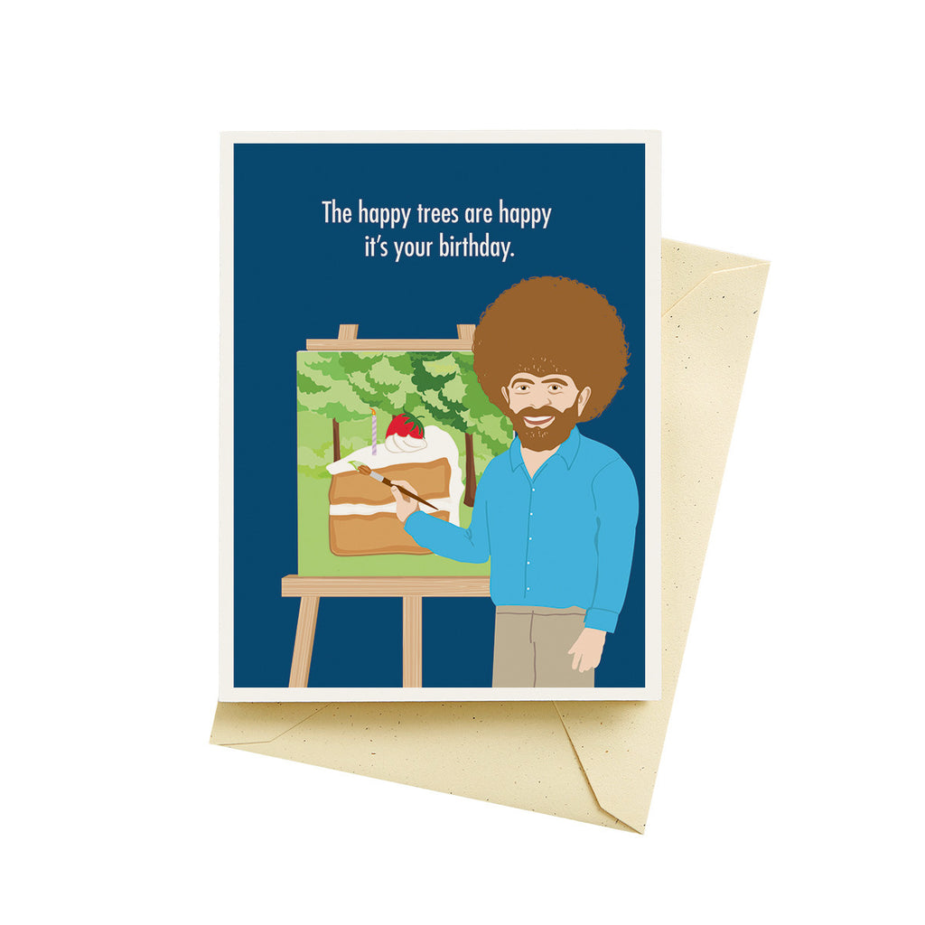 Happy Trees Bob Ross Birthday Greeting Card