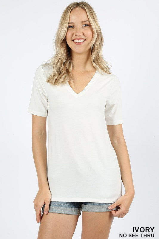 Basic White V Neck T-shirt