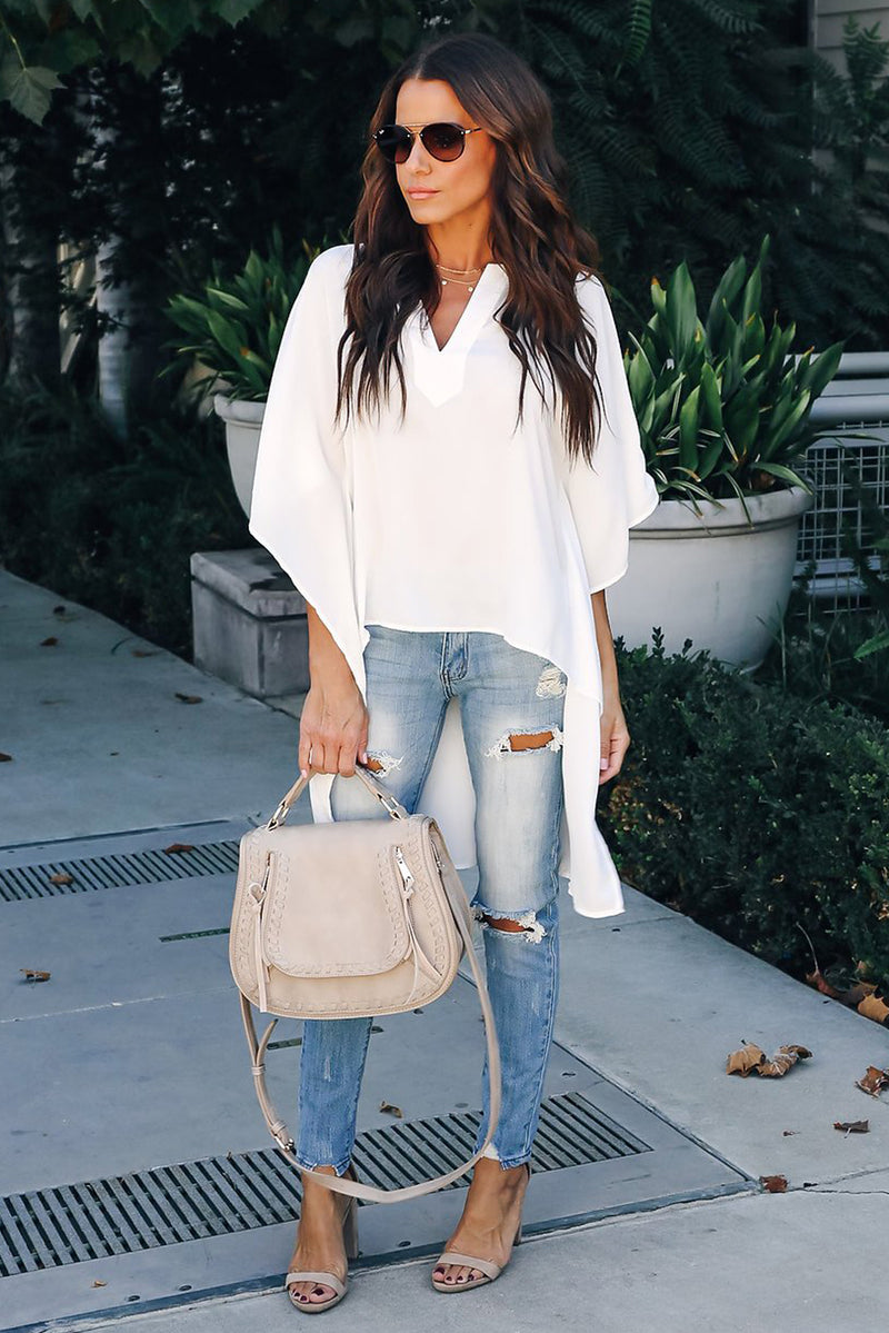 Megan High Low Classic White Top