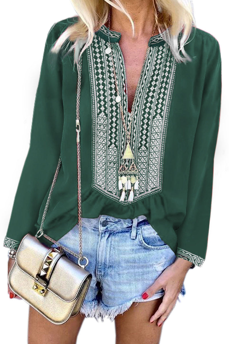 Mia Embroidered Front Blouse in Green