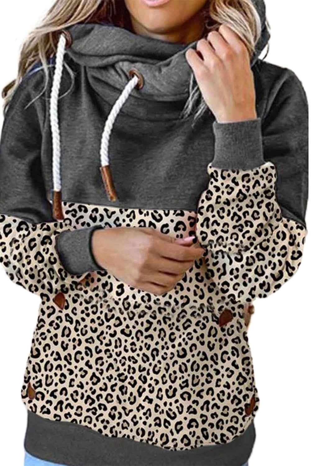 Bridget Animal Print Cowl Neck Hoodie