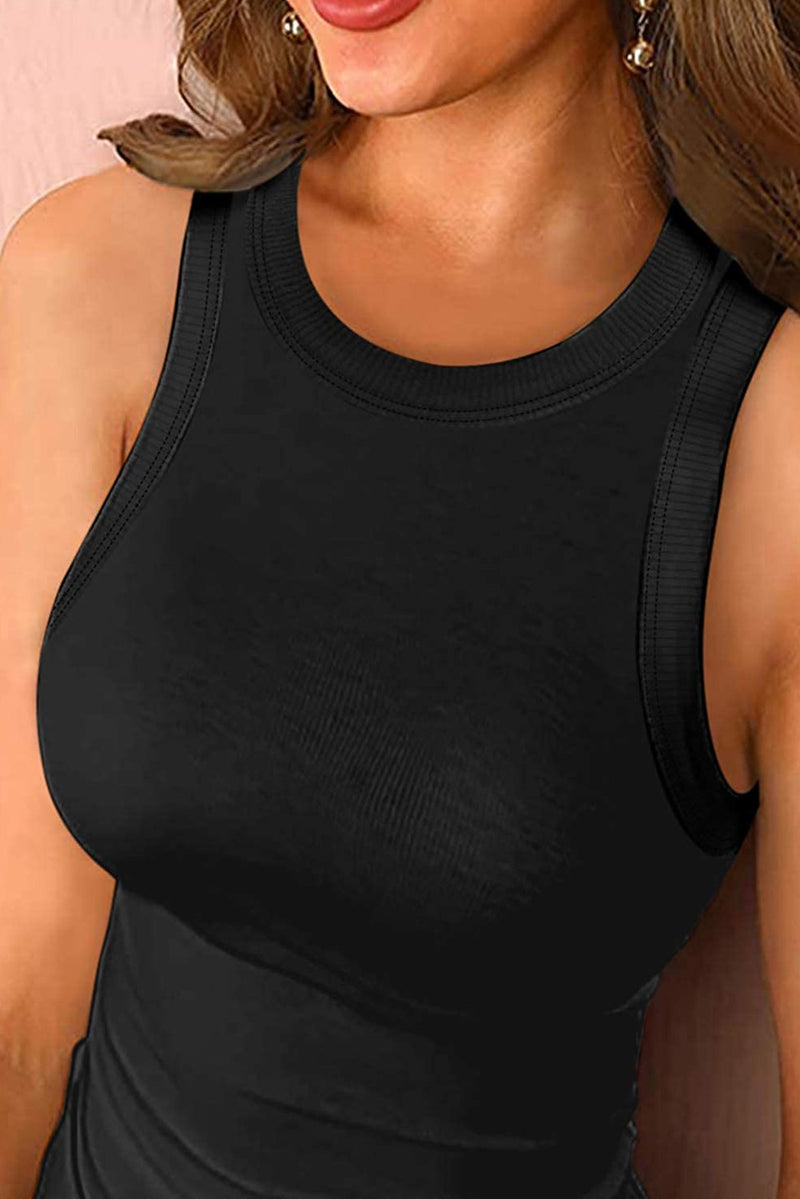 Steph Solid Black Round Neck Ribbed Tank Top
