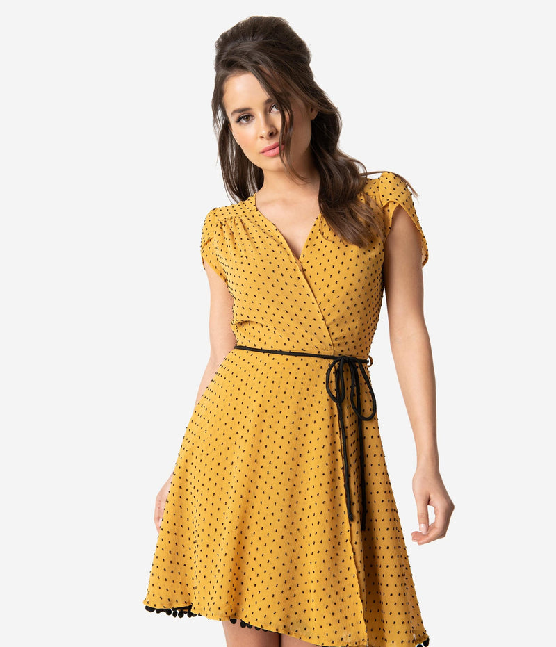 Smak Parlour Mustard & Pin Dot Faux Wrap Flare Dress