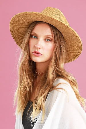 Straw Hat With Faux Leather Belted Accent In Natural