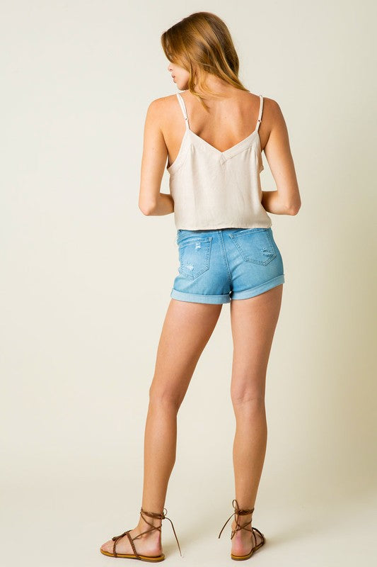 Button Front Tank in Off White