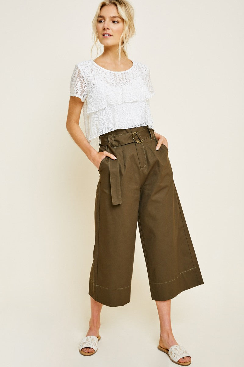 Cropped Wide Leg Belted Paperbag Trousers