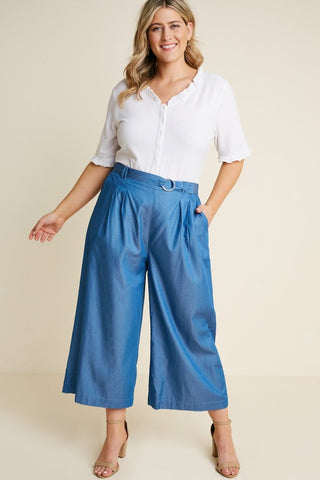 Flowy Open Leg Palazzo Pants in Navy and Red