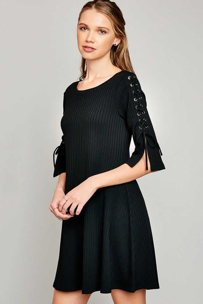 Ribbed Lace Up Sleeve Dress in Black