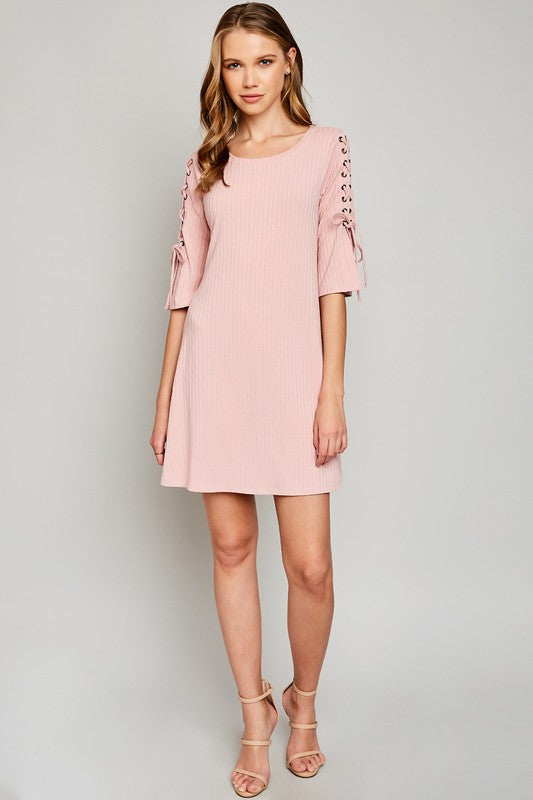 Ribbed Lace Up Sleeve Dress in Pink