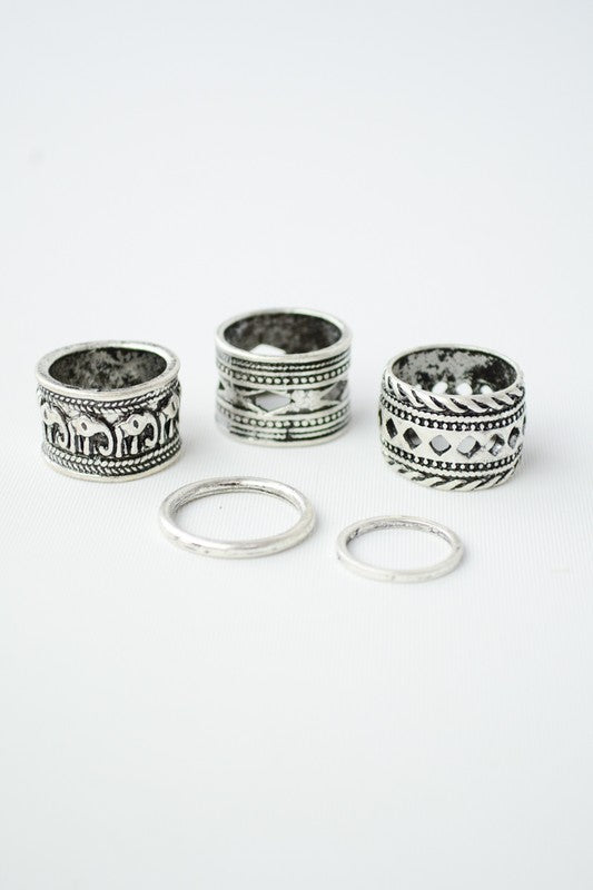 Antique Silver Bohemian Multi Metal Rings