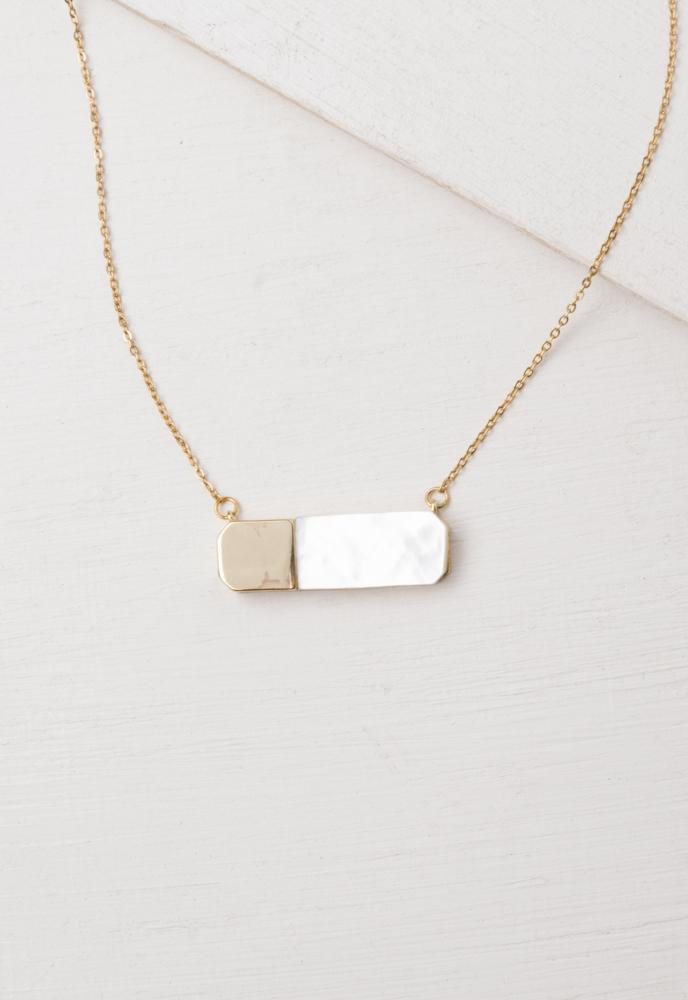 Courage Light and Gold Mother of Pearl Necklace