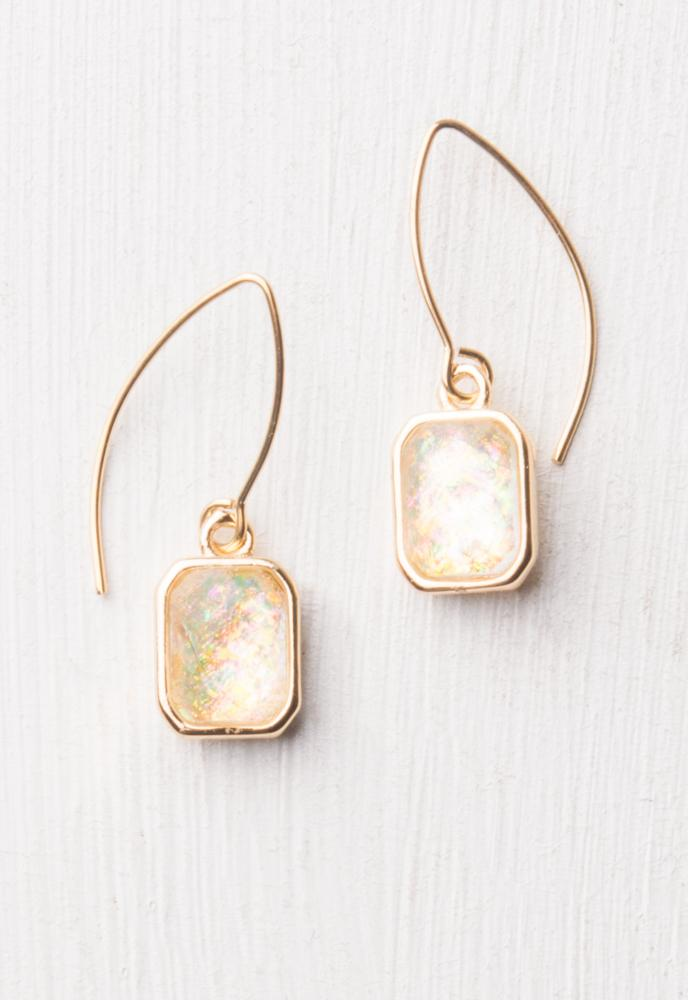 Alexa White & Gold Earrings