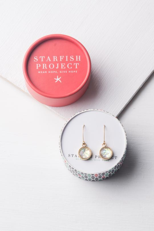 Ena Silver and White Opal Earrings by Starfish Project
