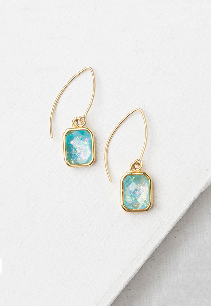 Alexa Sky Blue & Gold Earrings
