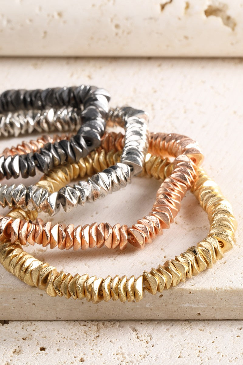 Textured Metal Circle Stretch Bracelet