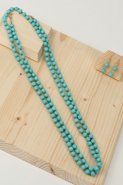 Natural Turquoise Stone Threaded Necklace