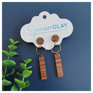 Metal Hex and Wood Bar Earrings in Alder or Black Walnut